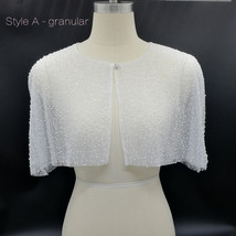 White Lace Bridal Wraps Cover-Ups Embroidery Lace Wedding Sequin Shawl Wrap Cape image 4