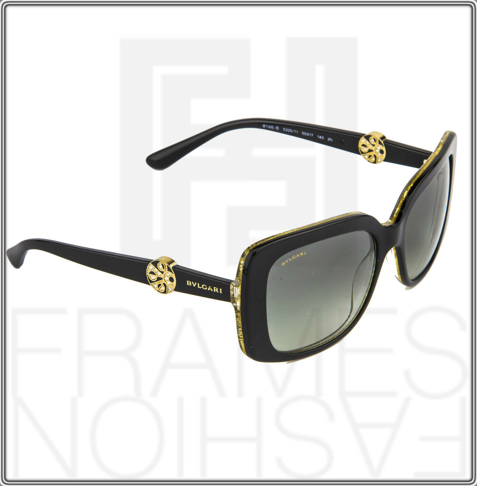 BVLGARI INTARSIO 8146B 5325/11 Black Gold Sunglasses 8146 Square Women Gradient image 6