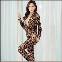Sheer Stretch Brown Large Leopard Print Long Sleeve Front Zips to Back Catsuit image 4