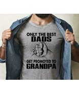 Only The Best Dads Get Promoted To Grandpa Men T-Shirt Sport Grey Cotton... - $15.98+