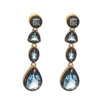 925 Sterling Silver Champagne Diamond &London Blue Topaz Long Drop/Dangl... - $138.47