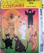 Children's Bear Cat Lion Kangaroo Costume Pattern - $6.99