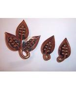 3 Pc Set Copper Jewelry Artisan Leaves Pin Brooch Clip Earrings Dimensio... - $27.67