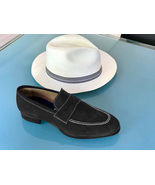 Handmade Mens Gray Suede Penny Loafers Slips On Moccasins Formal Shoes  - $156.73