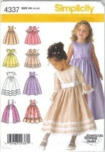 Simplicity 4337 Special Occasion Dress Girls 3 to 6 Uncut - $6.99