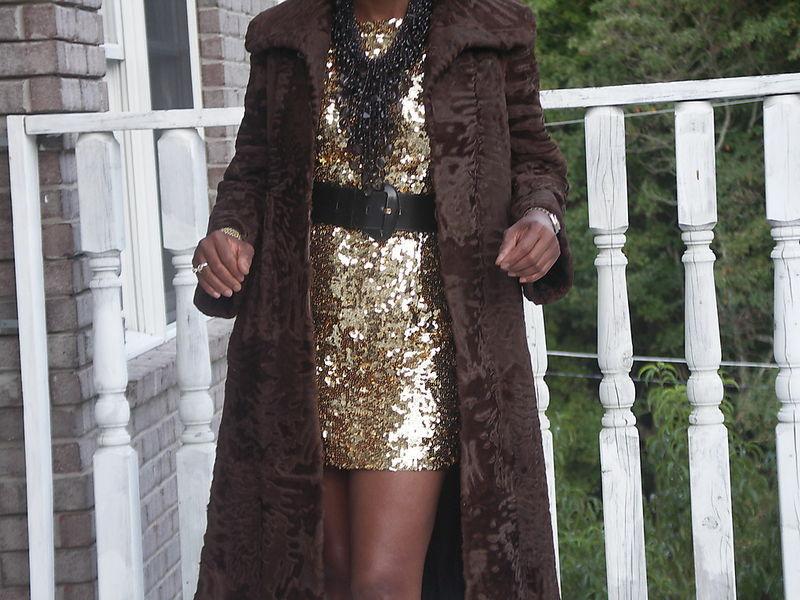 Rare Swing Classy Brown Full length Swakara Fur Coat S