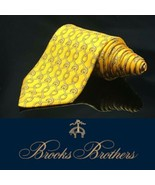 Brooks Brothers Makers Neck Tie Gold Chain Links Chainlink 100% Silk Tie - $28.81