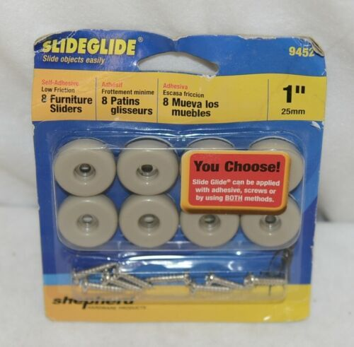 Shepherd 9452 Slideglide Furniture Sliders 8 Pack One Inch