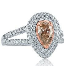 1.42 TCW Brownish Pink Pear Diamond Diamond Engagement Ring 14k White Gold - $2,256.21