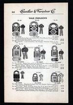 Yale Padlocks Keys Locks Yale 1919 Tools Catalog Ad Hardware - $14.99
