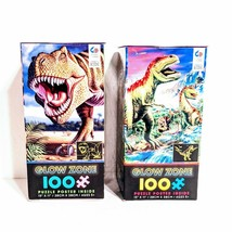 2 New Dino Glow Zone 100 piece Jigsaw Puzzles T-Rex Tyrannosaurus Rex Dinosaurs - $29.02