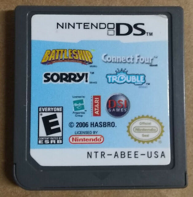 Battleship/Connect Four/Sorry/Trouble (Nintendo DS, 2007) *** Cartridge Only ***