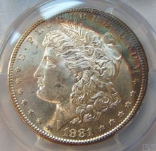 1881 S Silver Morgan Dollar PCGS MS 63 Rainbow Crescent Toned Toning Ton... - $144.99