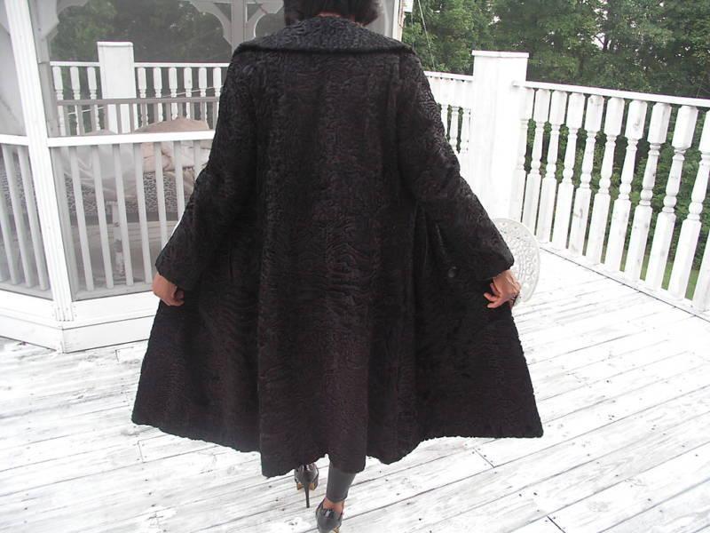 Russian Full length Black Karakul Swakara Fur Coat Jacket Stroller S-M 4-10
