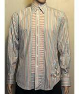 Men's Robert Graham LS BF Striped Embroidered Flip Cuff Shirt Medium Tea... - $38.69