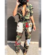 Euramerican Patchwork Camouflage Printed One-piece Jumpsuit - $35.28