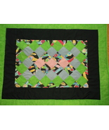 NEON GREEN small quilt 24 x 31 handcrafted patchwork baby wheelchair blue - $35.00