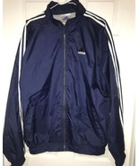 Adidas Windbreaker Mens Light Jacket RN#88387 Blue Sz LCollapsible Rain Hoodie - $42.91