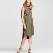 Liz Lange Maternity Olive Green Hi Low Utility Dress XXL NEW - $17.34