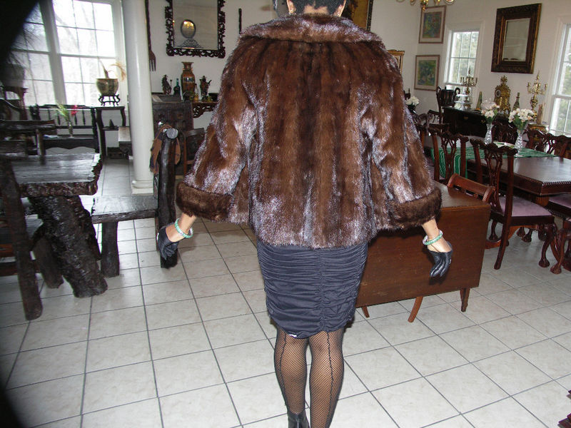 Top of line GLMA dk brown Mink Fur coat jacket bolero S