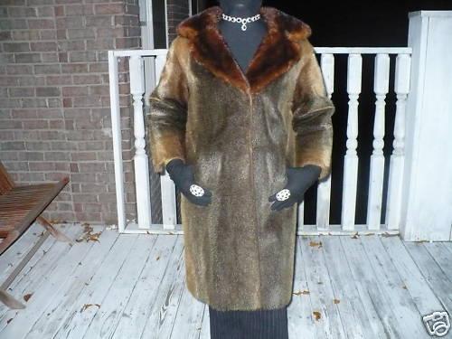 Unique Designer Full length Mink trimmed Fur coat S-M 4-10