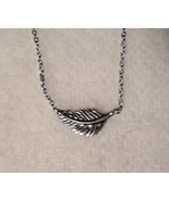 GZ3 Etched silver LUCKY FEATHER charm necklace & matching earrings in gi... - $9.89