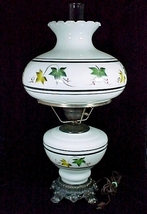 Electric Lamp Milk Glass with Ivy Leaves White Green Brown Student Desk Table  - $59.95