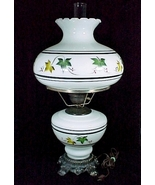 Electric Lamp Milk Glass with Ivy Leaves White Green Brown Student Desk ... - $59.95