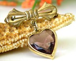 Vintage bow dangling valentine heart brooch pin amethyst goldtone thumb155 crop