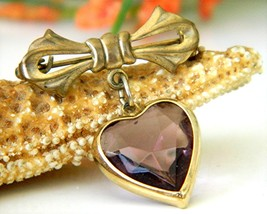 Vintage Bow Dangling Valentine Heart Brooch Pin Amethyst Goldtone - £12.08 GBP