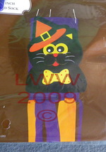 Orange Witch Hat Black Cat Halloween Wind Sock - £3.59 GBP