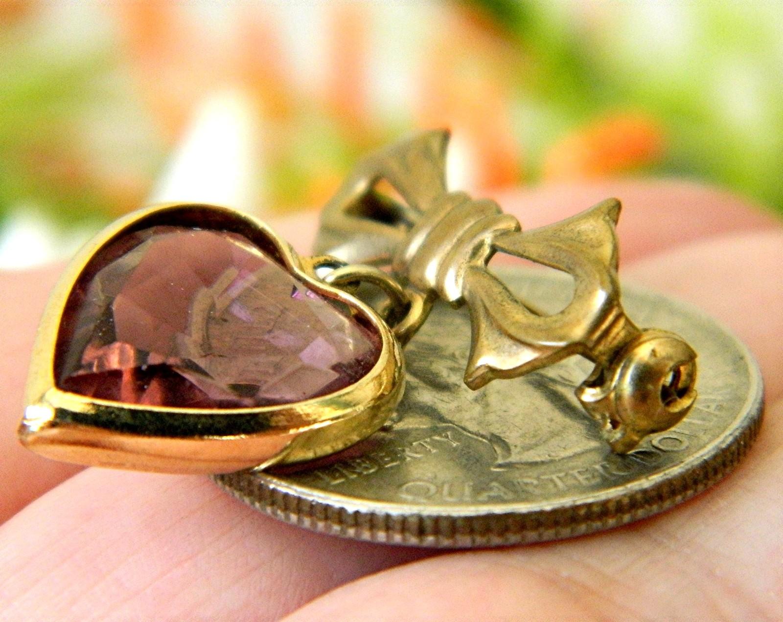 Vintage Bow Dangling Valentine Heart Brooch Pin Amethyst Goldtone image 3