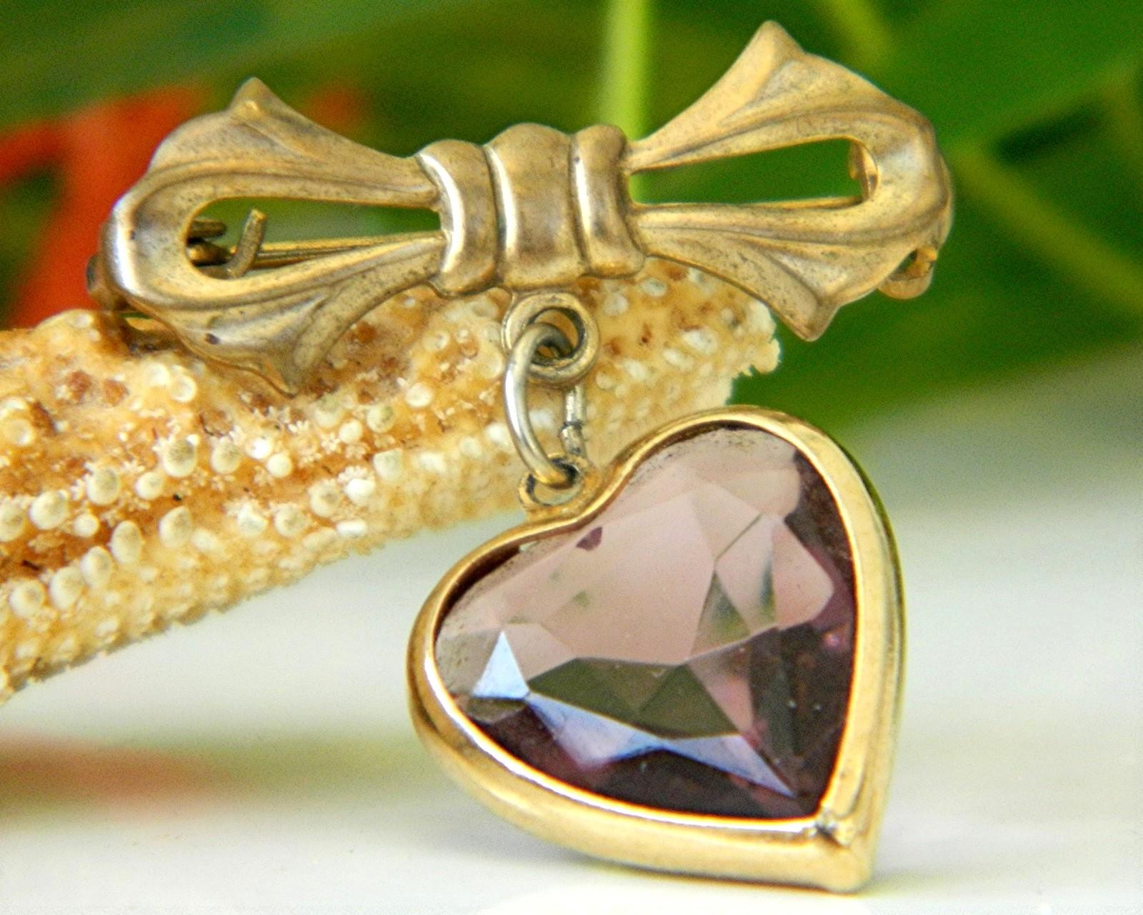 Vintage Bow Dangling Valentine Heart Brooch Pin Amethyst Goldtone image 4