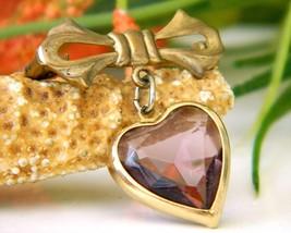 Vintage Bow Dangling Valentine Heart Brooch Pin Amethyst Goldtone image 6