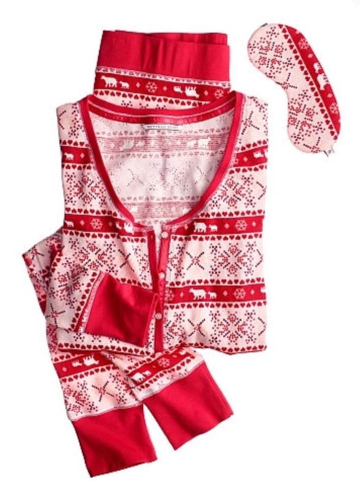 b6c6ad7ef7 S l1600 1. S l1600 1. Previous. NEW Victoria s Secret The Fireside Long  Jane RED Fair Isle Pajama Set XL