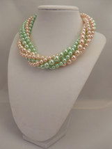Multi Strand Choker Style Necklace with Blush Peach & Mint Green Glass Pearls image 3