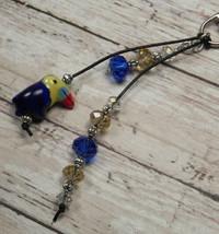 Toucan Blue Gold Crystal Beaded Handmade Purse Planner Charm Keychain Clip - $13.09