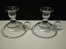 PAIR CANDLEWICK HANDLED CANDLES~~~rare ones~~ - $19.95