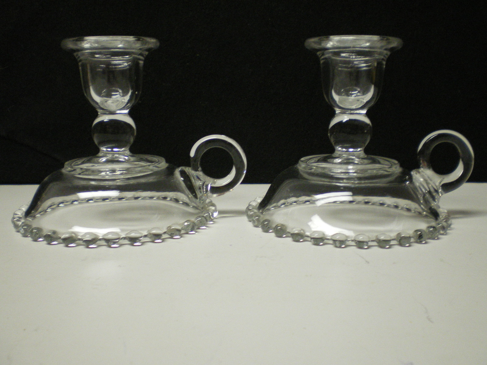 PAIR CANDLEWICK HANDLED CANDLES~~~rare ones~~