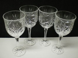 "Set of 4 Fifth Avenue Portico Crystal Wine Hock / Water Goblet~~8"" - $29.95"
