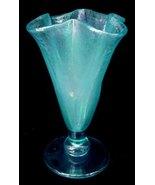 Fenton Celeste Blue Crackle Stretch Glass Iridescent Vase  - $45.00