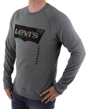 NEW LEVI'S MEN'S CLASSIC COTTON LONG SLEEVE GRAPHIC FLEECE SWEATSHIRT ARMY GRAY image 2