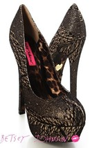 Black Gold Glitter Closed Toe Platform Pumps, size 5.5, 5 inch heel - $19.99