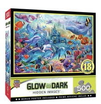 MasterPieces Hidden Images Glow In The Dark Sea Castle Delight 500pc Puzzle NEW - $24.35