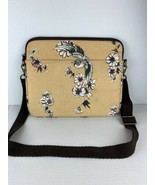 "Lucky Brand Laptop Bag 13"" Beige Canvas Floral - $98.99"