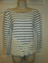 New Cute Cupio size L striped LS knit Top Embroidery hand stitched front - $8.42