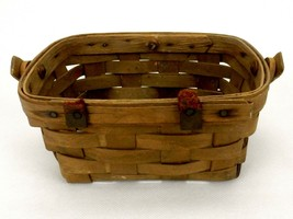 "Longaberger Miniature Basket, 7""x5""x3.5"", Swing Handle, 1984, Damaged/Di... - $14.65"
