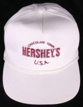 Vtg HERSHEY'S Chocolate Town USA Hat-White-Rope Bill-Snapback-Cap - $30.84