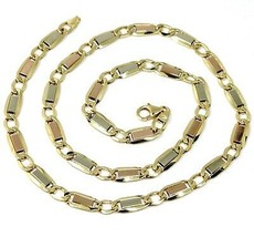 """18K YELLOW WHITE ROSE GOLD CHAIN 6 MM, 24"""" SQUARE FLAT ALTERNATE GOURMETTE LINKS image 1"""