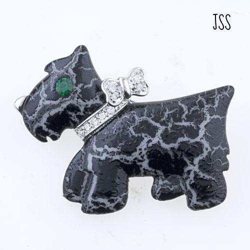 Jss black dog vintage brooch pin